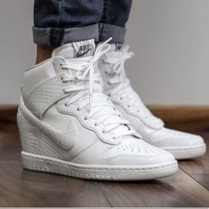 Nike dunk sky high white crocodile wedges. Size 12